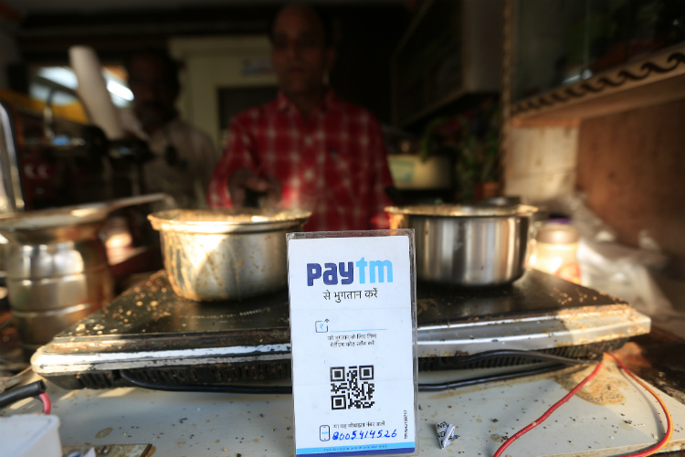 Small food joints like tea stall and other food corners now start using Paytm after the change money crises after demonetisation of 500 and 1000 Rupees notes in India. Express Photo by Vishal Srivastav.