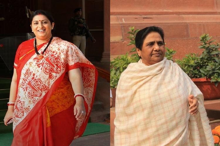 (Left) Smriti Irani; (Right) Mayawati