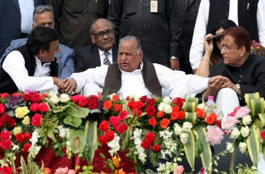 Samajwadi Party Supremo Mulayam Singh Yadav along with his son, Uttar Pradesh Chief Minister Akhilesh Yadav party's senior Leader Azam Khan and party's state president Shivpal Singh Yadav and Party MP Dimple Yadav at Lucknow Metro Train trail run inauguration function in Lucknow on thursday. Express photo by Vishal Srivastav 01.12.2016