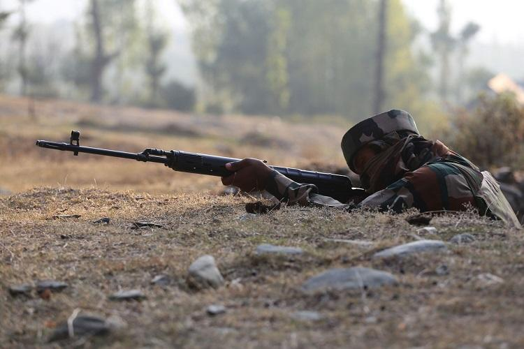 Army sounded a high alert across Line of Control, with army jawans patrolling in Nowgam sector, after Special forces had carried out surgical strikes to destroy seven launch pads along the Line of Control where teams of terrorists had positioned themselves. Express Photo by Shuaib Masoodi. 29.09.2016.