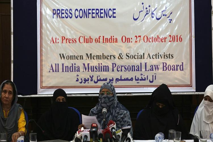 Woman members of All India Muslim Personal Law Board addressing a press conference on the issue of Triple Talaq in New Delhi Thursday. Express Photo by Tashi Tobgyal New Delhi 271016