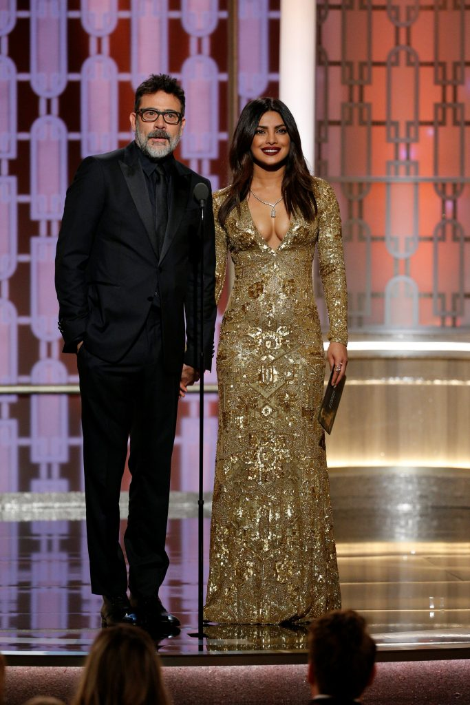 Jeffrey Dean Morgan (L) and Priyanka Chopra present during the 74th Annual Golden Globe Awards show in Beverly Hills, California, U.S., January 8, 2017. Paul Drinkwater/Courtesy of NBC/Handout via REUTERS ATTENTION EDITORS - THIS IMAGE WAS PROVIDED BY A THIRD PARTY. NO RESALES. NO ARCHIVE. For editorial use only. Additional clearance required for commercial or promotional use, contact your local office for assistance. Any commercial or promotional use of NBCUniversal content requires NBCUniversal's prior written consent. No book publishing without prior approval.