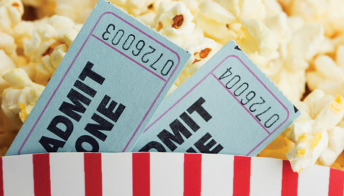 Cinema ticket popcorns