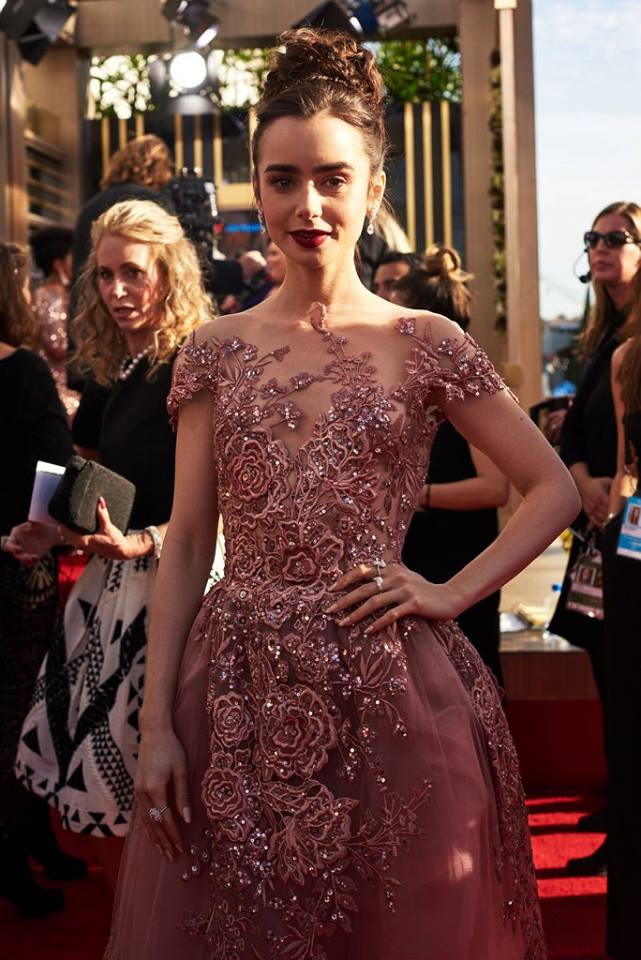 Lily Collins (Photo: Facebook/Golden Globes)