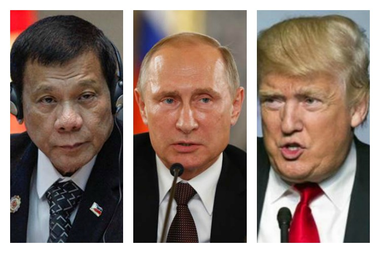 Philippines Rodrigo Duterte L Russian President Vladimir Putin And US Elect Donald TrumpR Have All Made It To The List Of Badass Leaders
