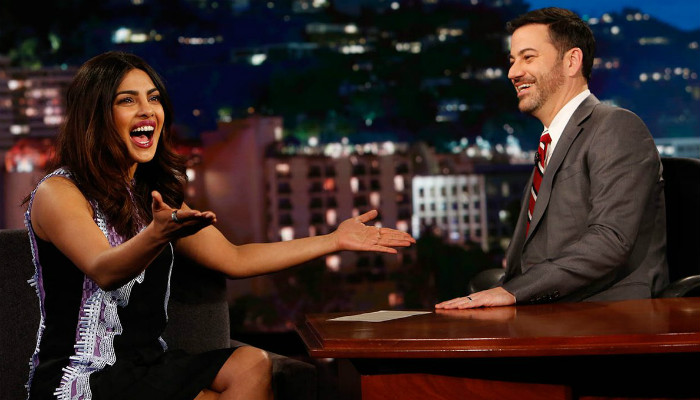 Jimmy Kimmel hosting Priyanka Chopra on his show.