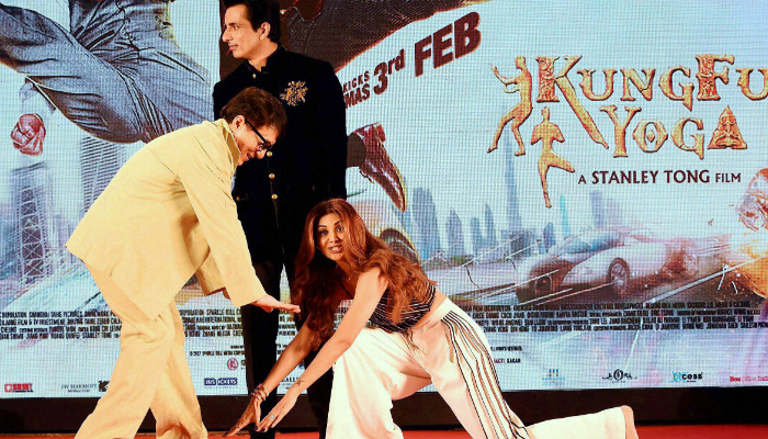 Shilpa Shetty Kundra touches feet of Jackie Chan during an event in Mumbai. (Photo: PTI)