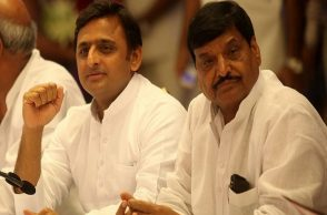 Uttar Pradesh Chief Minister Akhilesh Yadav along with his Uncle and PWD Minister Shivpal Singh Yadav official in Lucknow.