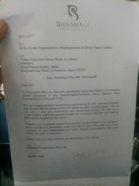 A copy of letter from Bhansali productions
