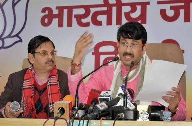 Manoj Tiwari addresses press.