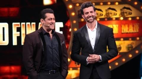 Salman Khan and Hrithik Roshan at the grand finale of Bigg Boss