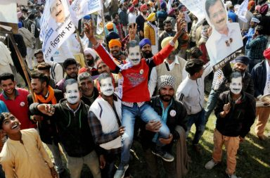 Arvind Kejriwal supporters during a road show in Amritsar (Photo: PTI)