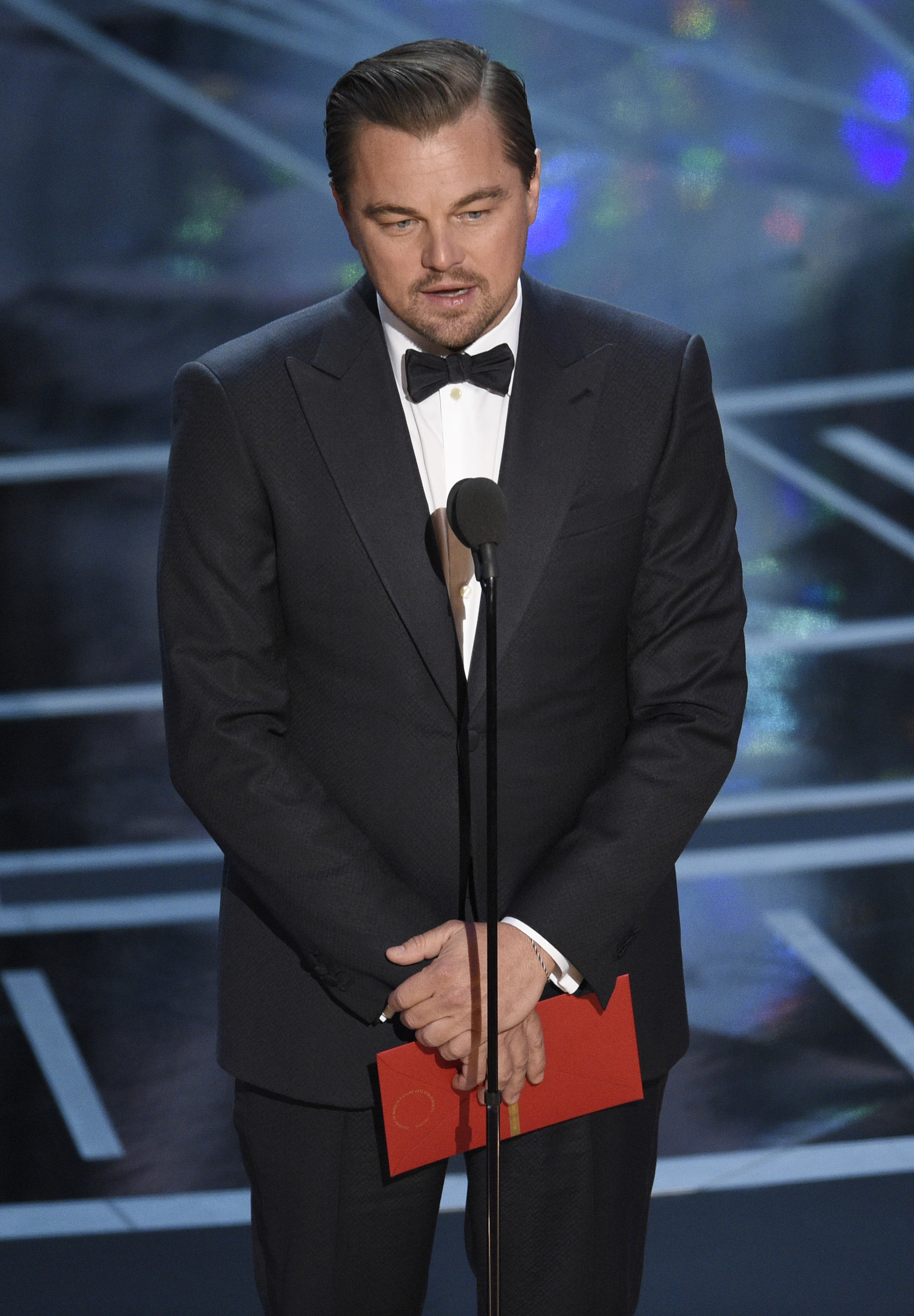 Leonardo DiCaprio presents the award for best actress in a leading role at the Oscars on Sunday, Feb. 26, 2017, at the Dolby Theatre in Los Angeles. (Photo by Chris Pizzello/Invision/AP)