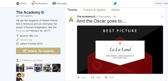 Oscars 2017 Best Picture Twitter Image for InUth