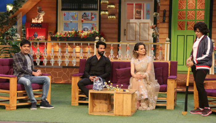 Kapil Sharma, Shahid Kapoor and Kangana Ranaut share a candid moment. Courtesy: Express/Varinder Chawla)