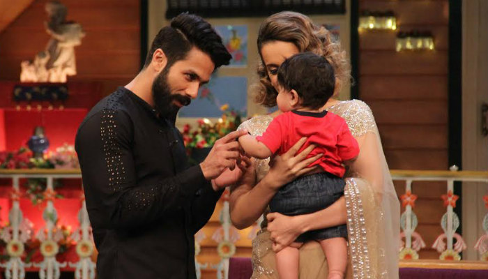 Shahid Kapoor and Kangana Ranaut on The Kapil Sharma Show. Courtesy: Express/Varinder Chawla