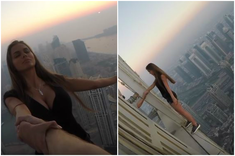 Watch: Russian model's scary photoshoot on a 1,000 foot tall tower will shock you!