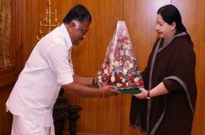 O Panneerselvam with J. Jayalalitha
