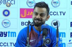 Virat Kohli mocking jounralist in post-match conference Photo Courtesy: Indian Cricket Team facebook page