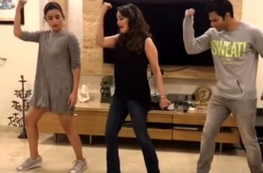Madhuri Dixit, Alia Bhatt and Varun Dhawan in a still from the video (Courtesy: YouTube/ Dharma Productions)