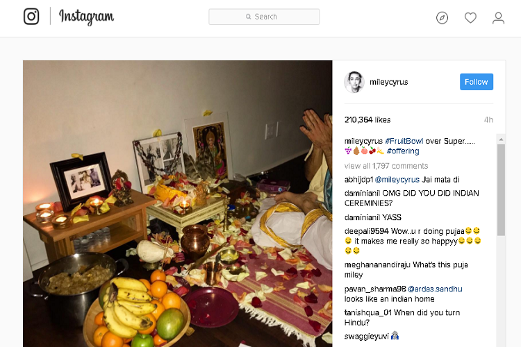 Miley Cyrus chooses Saraswati Puja over Super Bowl!