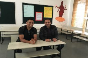 MS Dhoni poses with Virender Sehwag in one of the classroom