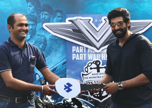 Rana Daggubati with bike (Courtesy: Twitter/@TheGhaziAttack)