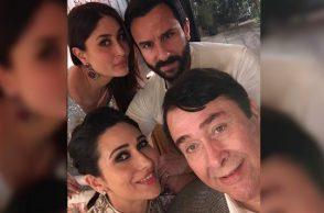 Kareena Kapoor, Karisma Kapoor, Saif Ali Khan and Randhir Kapoor (Courtesy: Instagram/Karisma Kapoor)