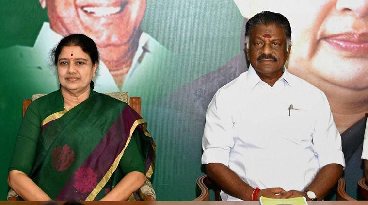 Chennai: Tamil Nadu Chief Minister O Panneerselvam and AIADMK General Secretary V K Sasikala at the party MLA's meeting in which she was elected as AIADMK Legislative party leader, set to become Tamil Nadu CM, at Party's Headquarters in Chennai on Sunday. PTI Photo(PTI2_5_2017_000160b)