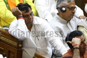 BJP MLAs during Uttar Pradesh CM Yogi Adityanath's and Assembly Speaker HN Dixit's first Assembly speech in Lucknow (PIC Indian Express)