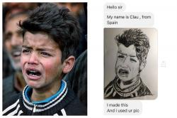 "After the picture of the ""mourning Kashmiri boy"" went viral, his sketch by a mystery girl has taken the internet by storm"