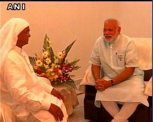PM Narendra Modi meets Mahant Sharananand of Gadhwaghat Ashram