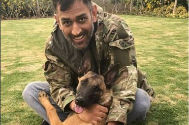 MS Dhoni gets playful with his pet dog. Photo Courtesy: MS Dhoni Instagram handle