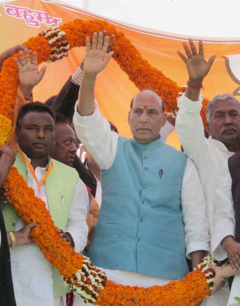 Mau: Union Home Minister and BJP leader Rajnath at an election rally in Mau district on Wednesday. PTI Photo (PTI3_1_2017_000225B)