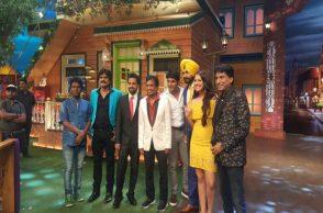 Raju Srivastav with Kapil Sharma on the sets of The Kapil Sharma Show