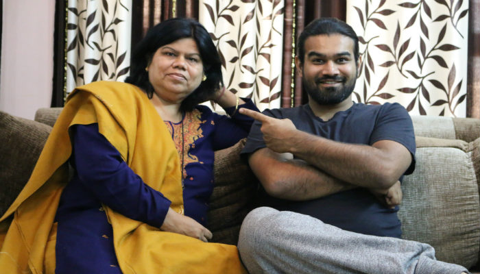 Sahil Vaid with mother