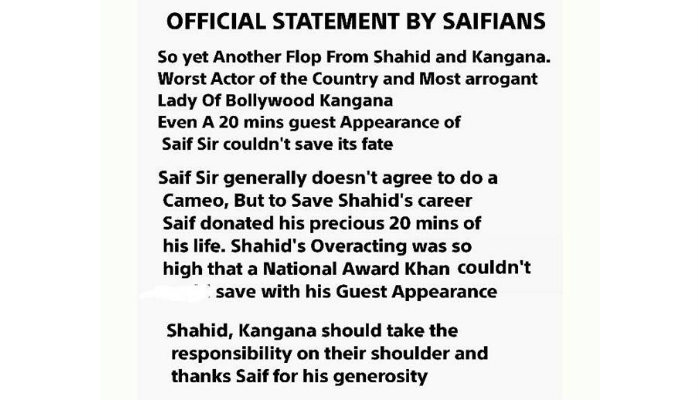 Saifians statement 1