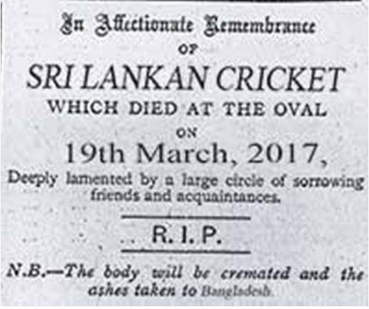 The Island's obituary notice. Photo Courtesy: cricket.com.au