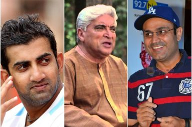 Javed Akhtar, Virender Sehwag, Gautam Gambhir