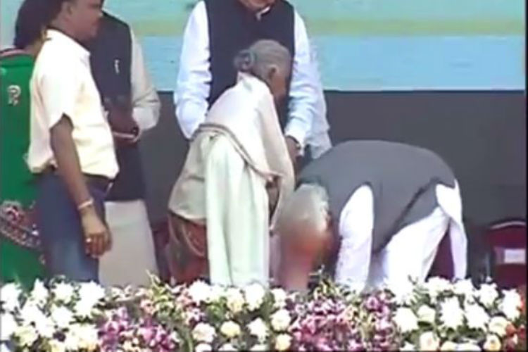 WATCH: PM Narendra Modi touches feet of 104-year-old woman who sold her goats to build toilet at her home