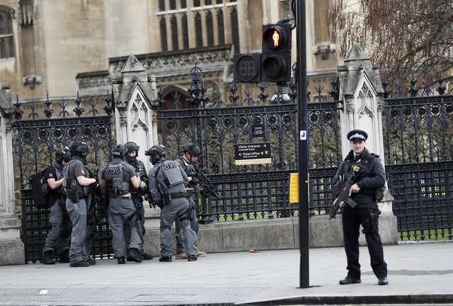 Armed police respond outside UK Parliament
