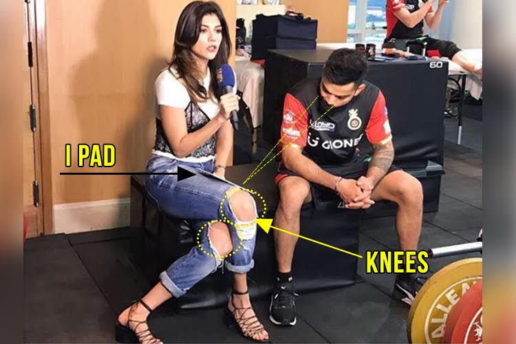 Is Virat Kohli ogling at Archana Vijaya's knees as claimed by an article? We decode the image for you
