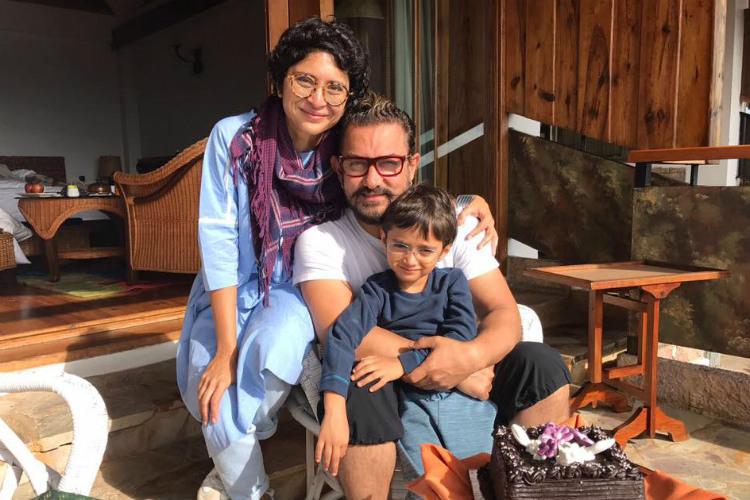 Azad Rao Khan with mommy Kiran Rao and dad Aamir Khan. (Photo: Facebook/Aamir Khan)