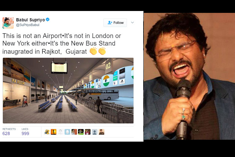 BJP Minister Babul Supriyo tweets an image of non-existent world-class bus stand in Gujarat; blames Don Bosco friend for mistake