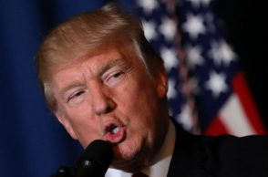 US President Donald Trump delivers a statement about missile strikes on a Syrian airfield (Photo: Reuters/Carlos Barria)