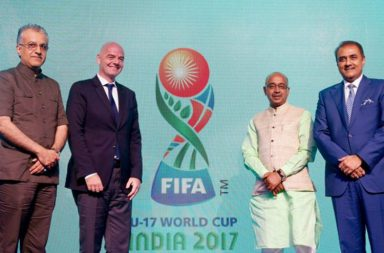 FIFA President Gianni Infantino (second from left), and Chairman of the LOC and All India Football Federation (AIFF) Praful Patel (R) alongwith sports minister Vijay Goel. (Source: Twitter)