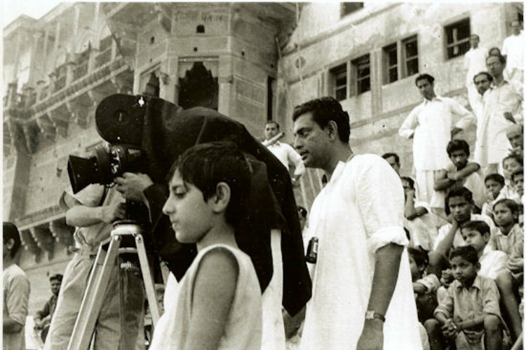 Satyajit Ray on the sets of Aparajito (1956)