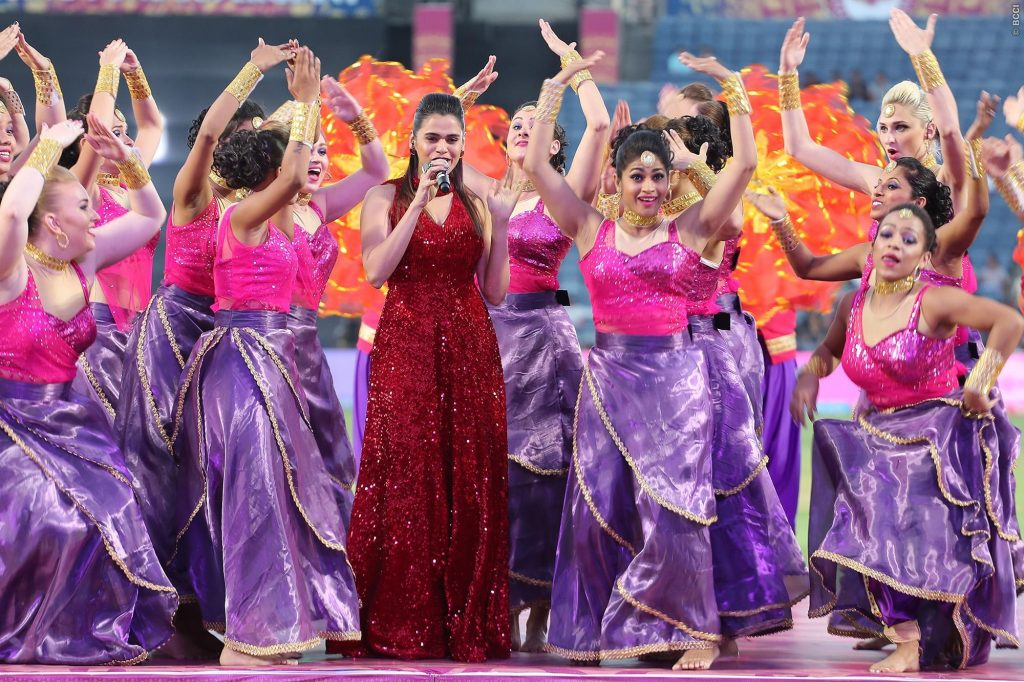 Shamlili Kolgade performs during match 2 of the Vivo 2017 Indian Premier League between the Rising Pune Supergiants and the Mumbai Indians held at the MCA Pune International Cricket Stadium in Pune, India on the 6th April 2017 Photo by Ron Gaunt - IPL - Sportzpics