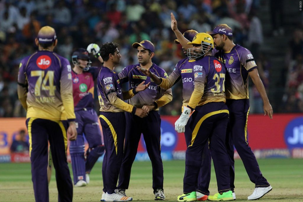 Kolkata Knight Riders players celebrates the wicket of MS Dhoni of Rising Pune Supergiant during match 30 of the Vivo 2017 Indian Premier League