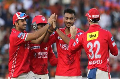 Kings XI Punjab players celebrates the wicket of Dwayne Smith of the Gujarat Lions during match 26 of the Vivo 2017 Indian Premier League between the Gujarat Lions and the Kings XI Punjab held at the Saurashtra Cricket Association Stadium. (Pic iplt20.com)